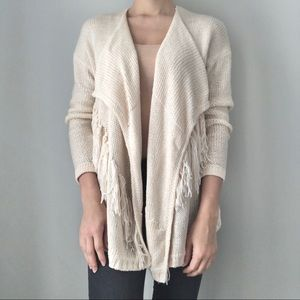 Forever21 cream knit sweater twitch fringe detail